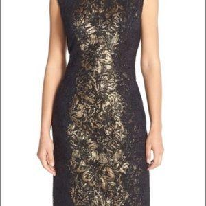 Betsey Johnson Side Lace Metallic Jacquard Dress